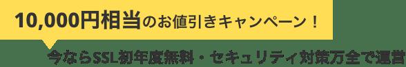 10,000円相当のお値引きキャンペーン!今ならSSL初年度無料・セキュリティ対策万全で運営