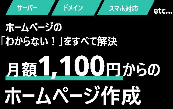 サーバー・ドメイン・スマホ対応etc..ホームページの「わからない!」をすべて解決 月額1,100円からのホームページ作成
